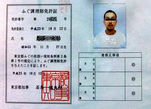 Fugu - Official fugu preparation license.
