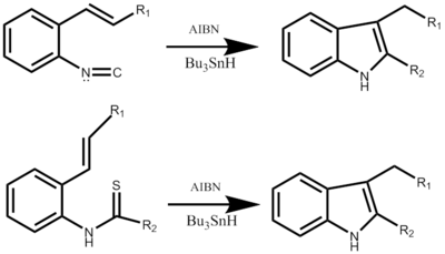 Fukuyama Indole Synthesis with either starting material.