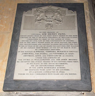 Henry Fane (British Army officer) - Mural monument of Sir Henry Fane, St Nicholas' Church, Fulbeck