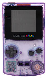 A clear atomic purple version of the Game Boy Color.