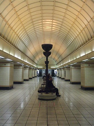 Gants Hill tube station - The lower concourse, with its design inspired by stations on the Moscow Metro