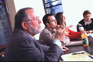 Albion College - Dr. Gene Cline, Emeritus Professor of Philosophy, directs a seminar-style honors class