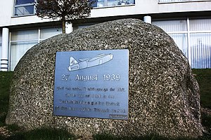 "Heinkel He 178 - Memorial plaque honoring the world's first jet flight from Heinkel's ""Marienehe"" factory airfield, in today's Rostock-Schmarl district"