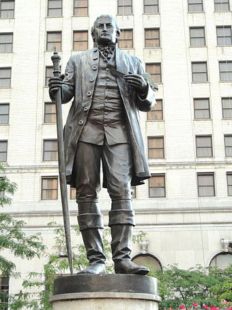 James G. C. Hamilton's 1888 statue of Gen. Moses Cleaveland. Gen. Moses Cleaveland by James G. C. Hamilton - DSC07989.JPG