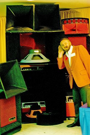 Subwoofer - A display of Cerwin-Vega speaker enclosures at the 1975 Audio Engineering Society meeting