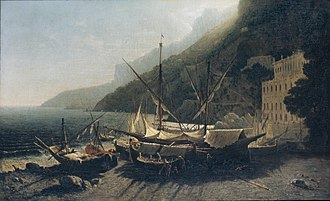 Battle of Capo d'Orso - View at Amalfi, Bay of Salerno, George Loring Brown, 1857.
