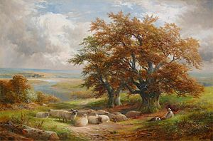 George Turner (artist) - Shepherd and Flock by the Trent by Turner