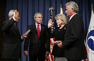 Mary E. Peters - Mary Peters being sworn in as the Secretary of Transportation by White House Chief of Staff Joshua Bolten on October 17, 2006