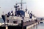 German Navy tender Saarburg (A1415) at Olpenitz naval base, Germany, on 28 August 1985.jpg
