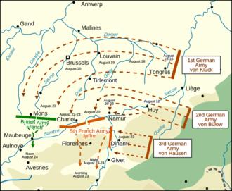 Battle of Charleroi - German advance through Belgium, August 1914