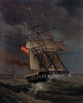 Spanish corvette Tornado - Spanish frigate Gerona chasing the British-built Chilean steamer Tornado