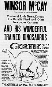 "Black-and-white poster announcing ""Winsor McCay and his Wonderful Trained Dinosaur Gertie"".  A drawing of a long-necked dinosaur appears below the verbose copy at the top."