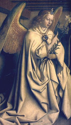 Annunciation (van Eyck, Madrid) - Ghent Altarpiece exterior: The Archangel Gabriel