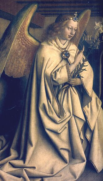 Annunciation (van Eyck, Madrid) - Ghent Altarpiece exterior: The Archangel Gabriel