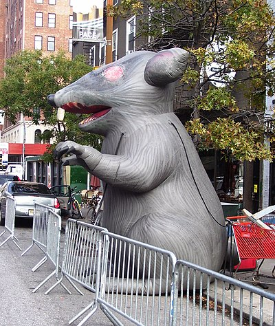 To bring public attention, a giant inflatable rat (named 'Scabby') is used in the U.S. at the site of a labor dispute. The rat represents strike-breaking replacement workers, otherwise known as 'scabs'. Giant inflatable rat.jpg