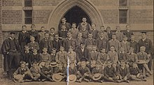 Gilman, Harold John Wilde (1876-1919) Abingdon School 1888 bottom row (4th from right with hat).jpg