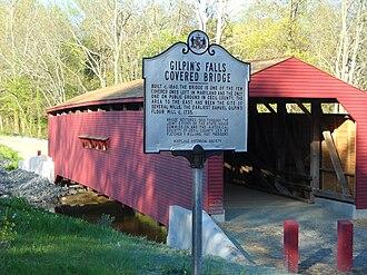 Gilpin's Falls Covered Bridge - Image: Gilpin Falls historic sign