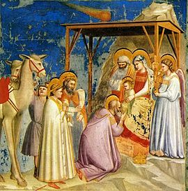 Adoration of the Magi by Florentine painter Giotto di Bondone (1267–1337)