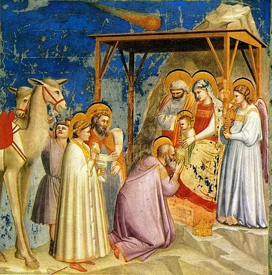 Adoration of the Magi by Florentine painter Giotto di Bondone (1267-1337). The Star of Bethlehem is shown as a comet above the child. Giotto witnessed an appearance of Halley's Comet in 1301. Giotto - Scrovegni - -18- - Adoration of the Magi.jpg