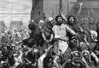 "Barabbas - ""Give us Barabbas!"", from  The Bible and its Story Taught by One Thousand Picture Lessons, 1910"
