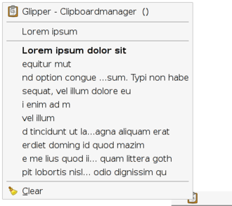 Clipboard (computing) - Glipper, an example of a clipboard management program