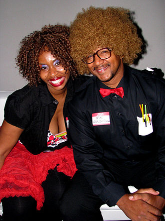 "GloZell - GloZell (left) with her talent manager and husband Kevin ""SK"" Simon, in 2009."
