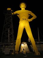 The iconic Golden Driller, built in 1953 for the 1966 International Petroleum Expo, now stands at the Tulsa County Fairgrounds.
