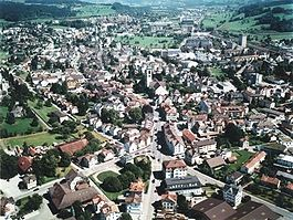 Gossau city center from the air