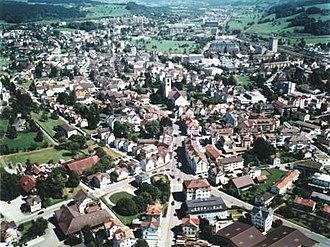 Gossau, St. Gallen - Image: Gossau flugaufnahme zentrum