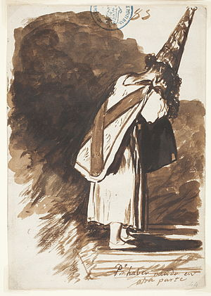 "Shame - Person hiding face and showing posture of shame (while wearing a Sanbenito and coroza hat) in Goya's sketch ""For being born somewhere else"".  The person has been shamed by the Spanish Inquisition."