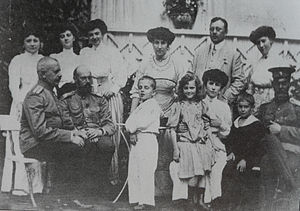 Grand Duke Sergei Mikhailovich of Russia - From left to right seated: Baron Zeddeler; Grand Duke Sergei Mikhailovich; Vova, with his aunt Julie behind him; Mathilde with two unidentified children; Gran Duke Andrei Vladimirovich, Strelna, 1909