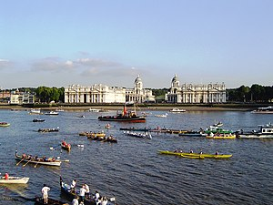 Greenwich - Boats at Greenwich at the end of the Great River Race
