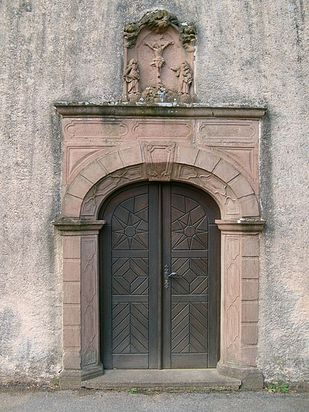 The entrance of the chapell of Grentzingen, Luxembourg.