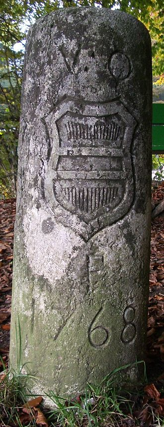 "Further Austria - Border stone of 1768 with the Austrian coat of arms and ""V.O."" (""Vorderösterreich""), Salhöhe, Switzerland"