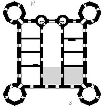 Glücksburg Castle - Floor plan of the upper floors, the grey part marking the area of the chapel on the ground floor.