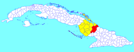 Guáimaro municipality (red) within  Camagüey Province (yellow) and Cuba