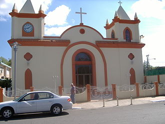 Guayanilla, Puerto Rico - Church in the Guayanilla town plaza.