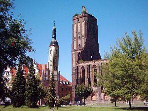 Gubin, Poland - Town hall and parish church ruin