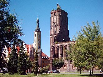 Gubin, Poland - Town hall and parish church ruin