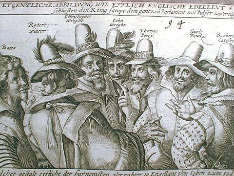 A 17th-century illustration of the leaders of the Gunpowder Plot. They tried to assassinate James I of England. They failed and were convicted of treason and sentenced to be hanged, drawn and quartered. Guy-Fawkes.jpg