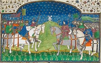 Guy of Warwick - Guy of Warwick, from an illumination in Le Romant de Guy de Warwik et d'Heraud d'Ardenne, in the Talbot Shrewsbury Book (BL Royal MS 15 E vi) f. 227r
