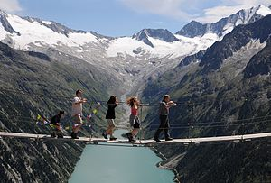 A simple suspension footbridge in the Zillertal Alps