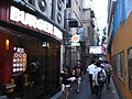 HK Yau Ma Tei Pitt Street view Hamilton Street lane evening Burger King shop visitors Oct-2012.JPG
