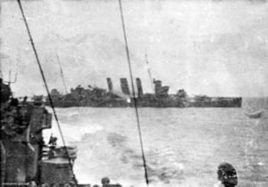 HMAS Camberra (D33) burning after Battle of Savo 1942.jpg