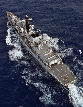 Type 23 frigate - Overhead view of HMS Richmond in August 2013