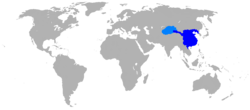 A map of the Western Han Dynasty in 2 AD: 1) the territory shaded in dark blue represents the principalities and centrally-administered commanderies of the Han Empire; 2) the light blue area shows the extent of the Tarim Basin protectorate of the Western Regions.[1]