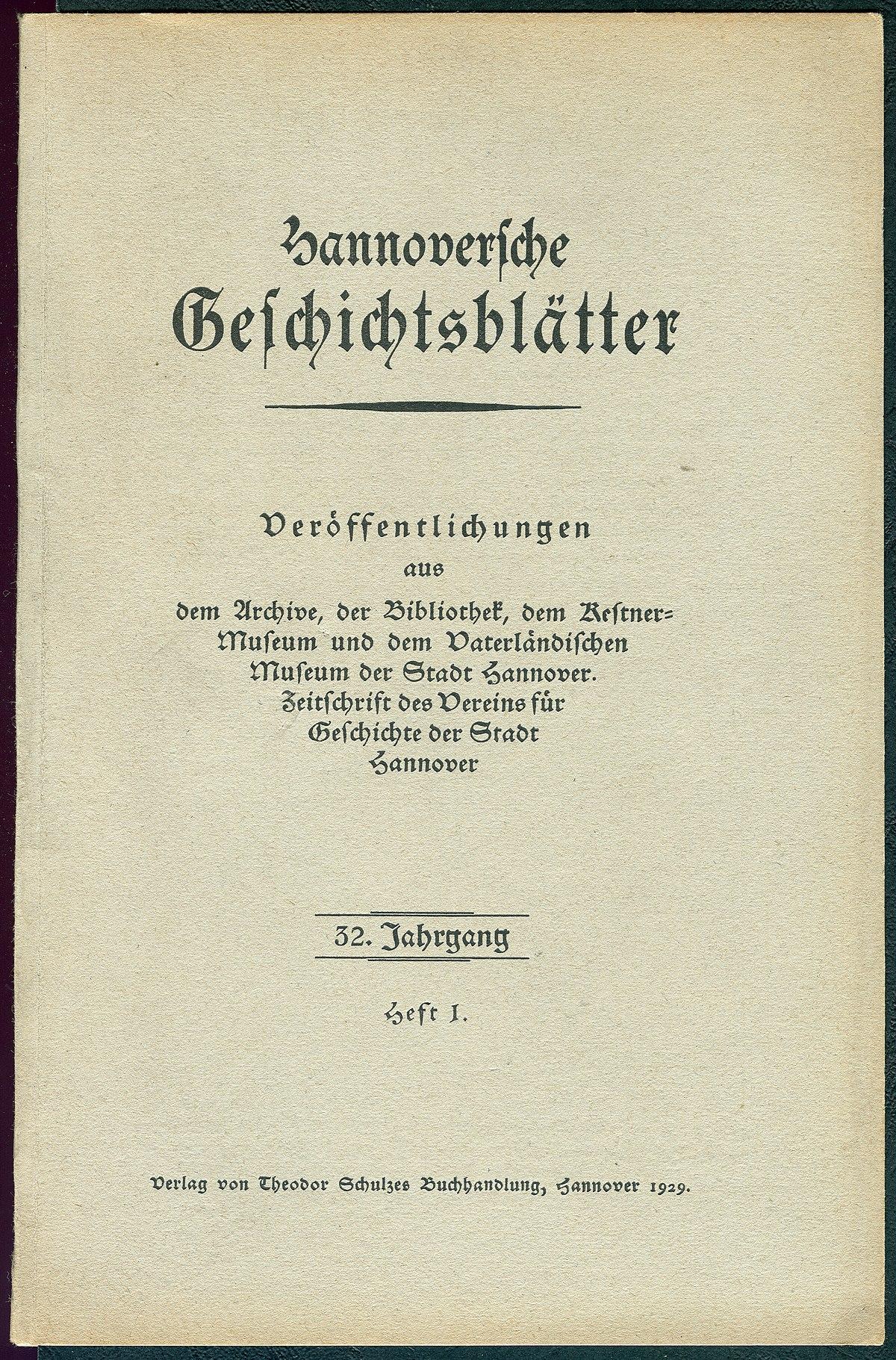 Hannoversche Geschichtsblätter – Wikipedia