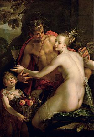 Hans von Aachen - Bacchus, Ceres and Amor (Sine Cerere et Baccho friget Venus), c. 1600