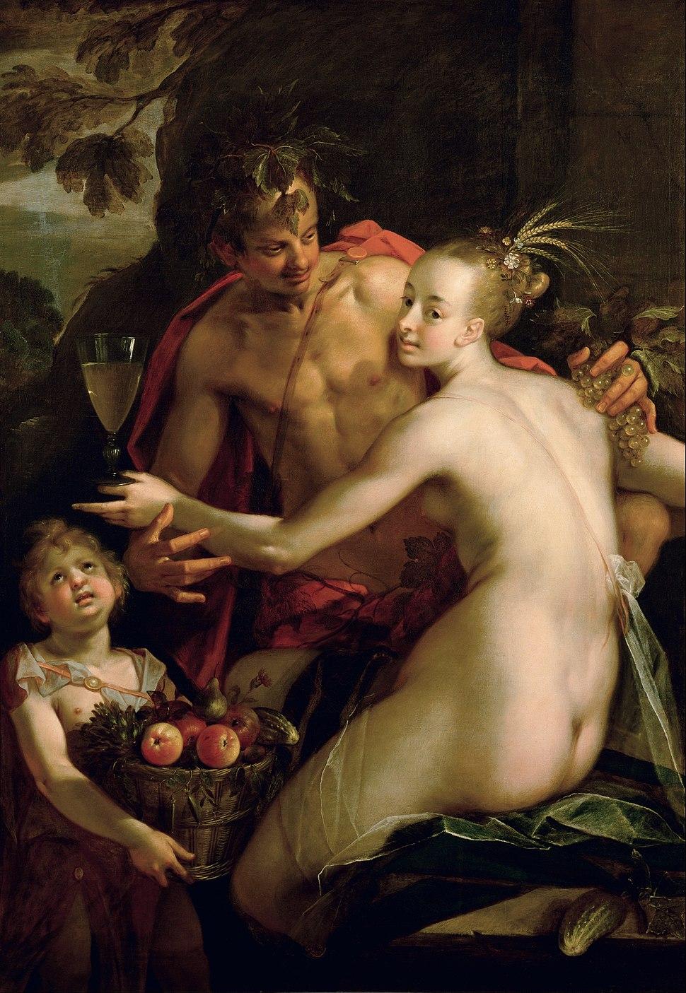 Hans von Aachen - Bacchus, Ceres and Amor (?) - Google Art Project