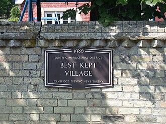 Best kept village - A Best Kept Village plaque in Harlton, Cambridgeshire